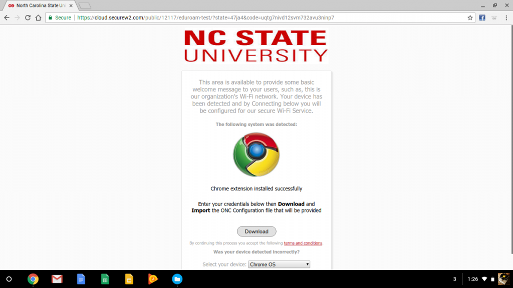 The SecureW2 eduroam enrollment page on a Chromebook.