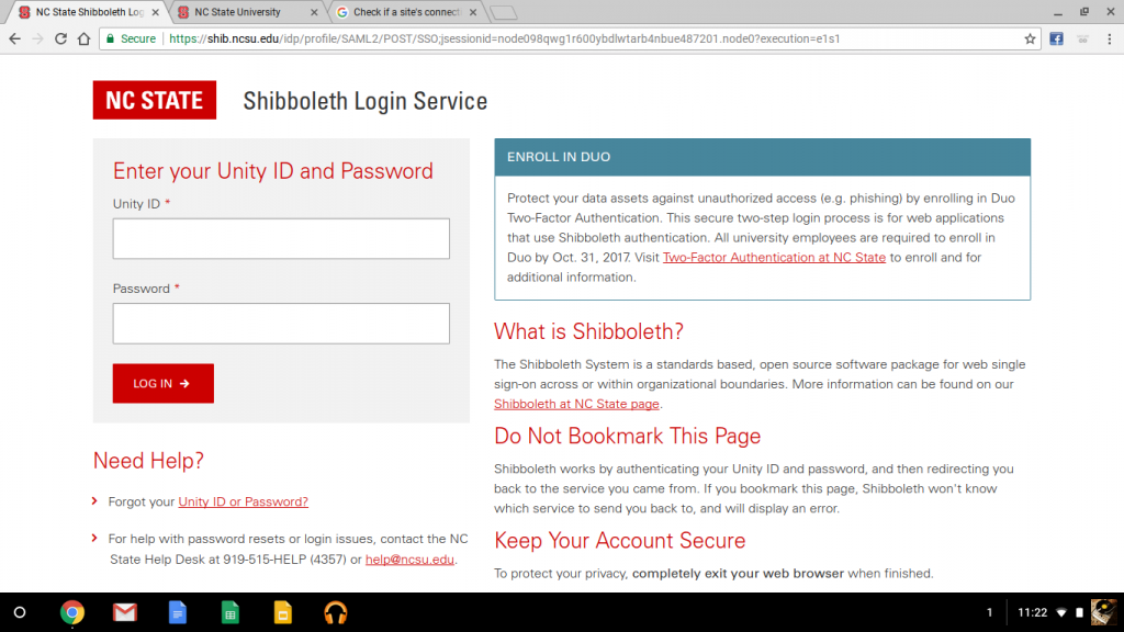 Shibboleth login page.