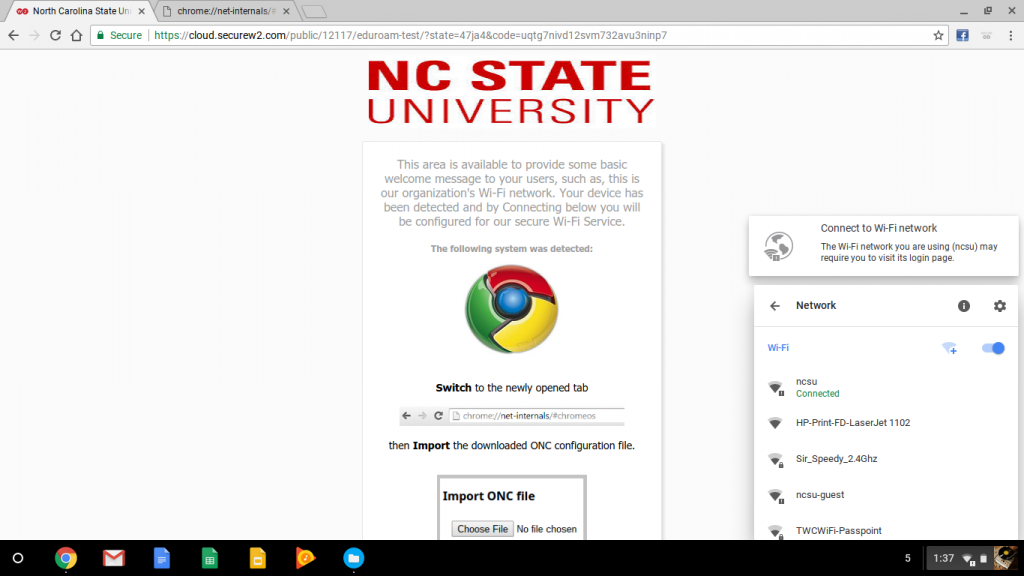"Switch networks from ""ncsu"" to ""eduroam""."