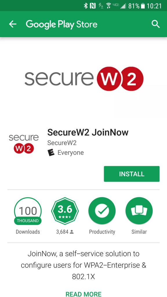 SecureW2 app in the Google Play Store.