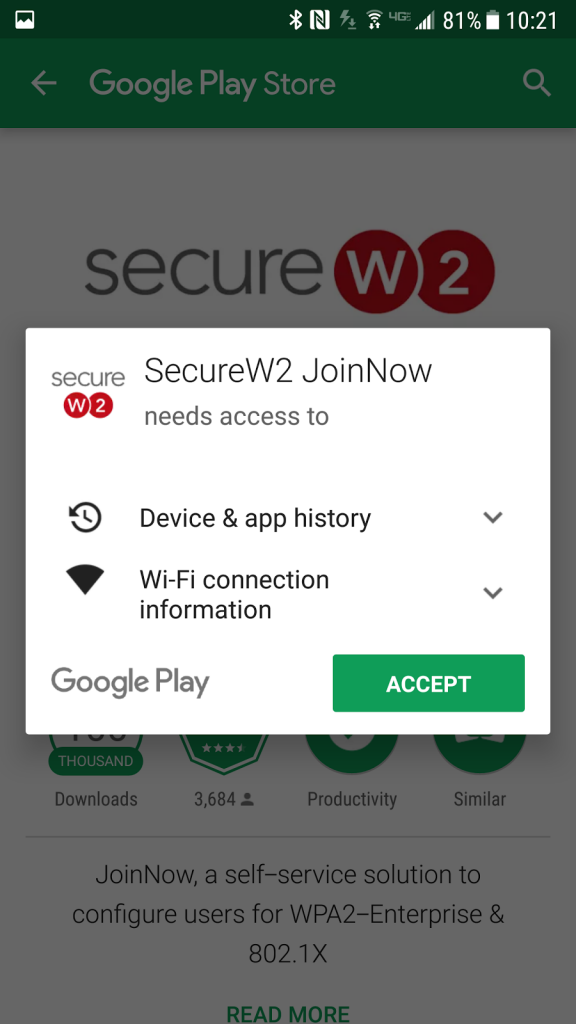Permissions required by the SecureW2 app.