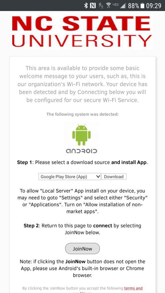 SecureW2 will prompt you to download an app from Google Play.