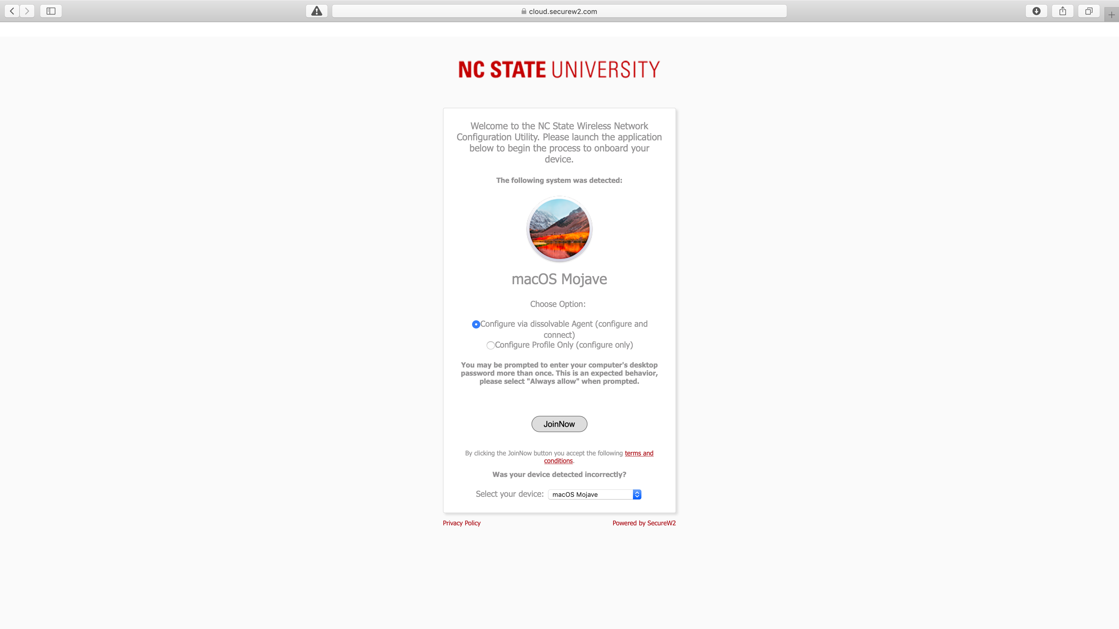 The SecureW2 eduroam enrollment page for Mac OS.