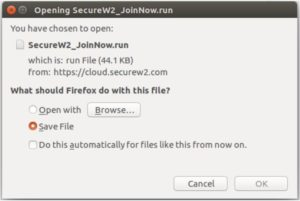 SecureW2 Join Now Dialog Box